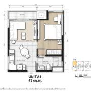 Unit A1: 43 sqm